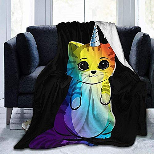 Wobuzhidaoshamingzi Rainbow Cat Ultra Soft Fleece Jacket flanel Velvet Plush Throw