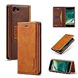 DEFBSC Funda tipo cartera para iPhone 7 Plus 8 Plus con soporte para tarjetas, cierre magnético, piel sintética, con función atril para iPhone 7 Plus/8 Plus de 5,5 pulgadas, color marrón