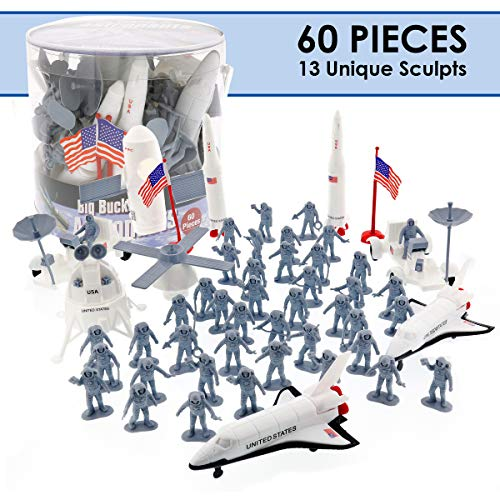 SCS Direct Astronaut and Space Toy Action Figures- Huge 60 Piece Playset, 13 Unique Sculpts- 2in - 8in Figures Include Rockets, Astronauts, Rovers and More