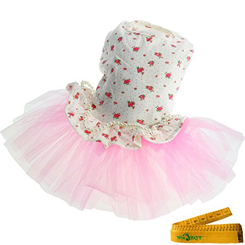 Wiz BBQT Sweet Pink Pet Dog Cat Princess Floral Flower Gauze Tutu Dress Skirt Patchwork with String of Artificial Pearls for Dogs Cats in Summer (Medium) Review