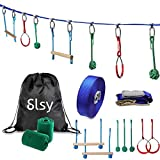 Slsy Ninja Obstacle Warrior Course Monkey Bar Kit 45 Foot, Kids Slackline Hanging Obstacle Course Set Warrior Training Equipment for Backyard Outdoor Ninja 440lb Capacity