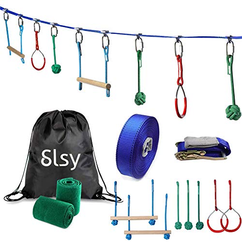Slsy Ninja Warrior Obstacle Course Monkey Bar Kit 40 Foot, Kids Slackline Hanging Obstacle Course Set Warrior Training Equipment for Backyard Outdoor Playground, 440lb Capacity, Carrying Bag