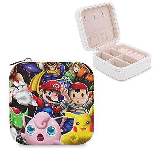 Super Smash Bros Kirby Pikachu Mario - Joyero de piel sintética para viajes, portátil, para collares, pendientes, pulseras, anillos, relojes, expositores, cajas de joyería para mujer