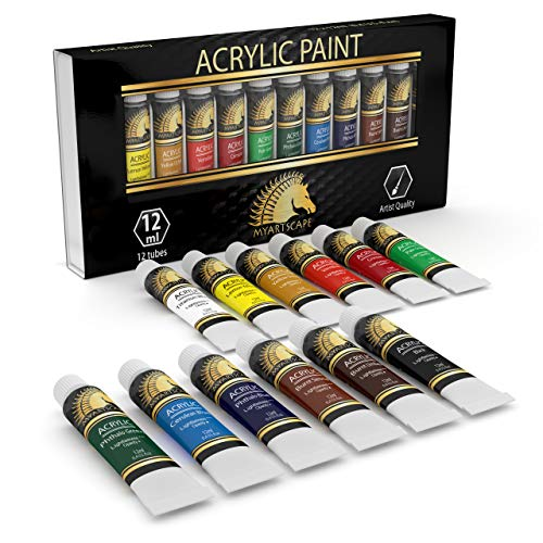 Acrylic Paint Set - 12 x 12ml Tubes - Lightfast - Heavy Body - Great Tinting Strength - Professional Grade - Artist Quality Painting Supplies - Premium Paints by MyArtscape