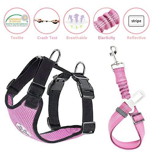 Nasjac Juego de Cinturones de Seguridad para Perros, cinturón de Seguridad para Mascotas con cinturón de Seguridad (M, Arnés y cinturón(Rosado))