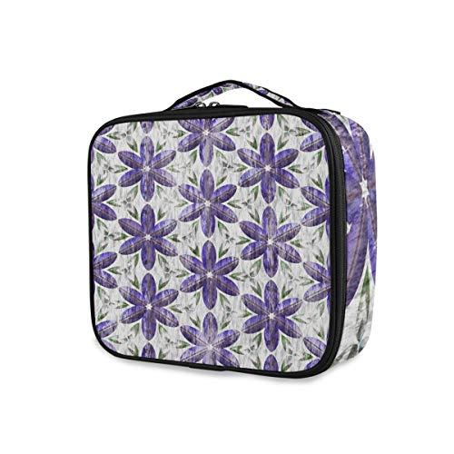 Trousse de maquillage professionnel Multifonction Print for Women Girl Fleurs violettes Boîte cosmétique avec compartiments réglables Portable