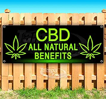 CBD All Natural Benefits 13 oz Banner Heavy-Duty Vinyl Single-Sided with Metal Grommets