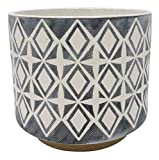Amazon Brand – Rivet Geometric Ceramic Planter, 8.625'H, Black
