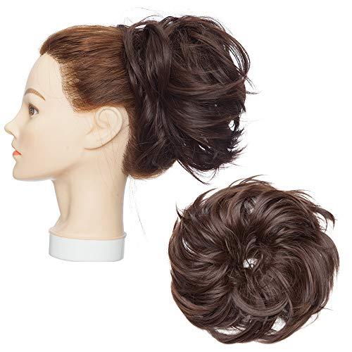 Elástico pelo tupé extensión de Moño cola de caballo rizado ondulado Moño Updo suave mucho volumen postizos mujeres 80g - marrón chocolate