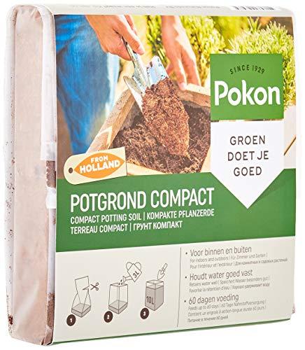 Pokon Kompakte Pflanzerde, kompakte Blumenerde aus Kokofaster für Balkon und Garten, 2 Monate vorgedüngt, 10 L, Grün