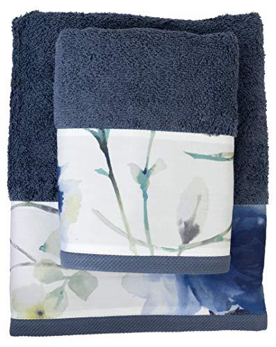 FILET Juego de Toallas para Cara + invitado, con impresión Digital aplicada, Color Azul, algodón, 61 x 110 cm, 40 x 60 cm