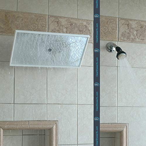 NEW PREMIUM Large Shower Head by Clear Shower XL - Mirror Model, FIRM PRESSURE Square 18 inch (45cm) Adjustable Shower Head, LUXURY Waterfall Full Body Coverage, Easy to Install