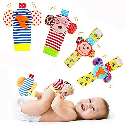 Sonajeros de Muñeca Bebe Sonajero de Pies y Manos Juguetes de Desarrollo Animal Lindo Calcetines Sonajero para 0-12 Meses Recién Nacido Niño Niñas