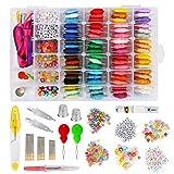 CestMall Kit de Seda del Bordado, Bordado en Color 72 Hilos de Seda de la Cruz Kits de Herramientas de la Puntada Hilos Amistad Pulseras de Hilo para Adultos Principiantes para niños
