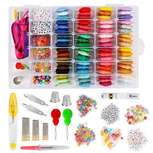 CestMall filo da ricamo kit, 72 colori filetti del ricamo punto croce floss fili kit strumenti amicizia bracciali stringa per adulti bambini principianti