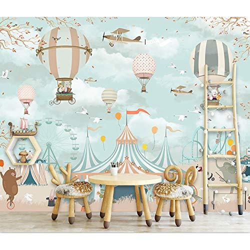 Fototapete 3d effekt Kinderzimmer Tapete Cartoon Zirkus Tier Ballon Fototapete Wandbild Kinderzimmer 3D Selbstklebende Vinyl/Seide Tapete-200X140CM