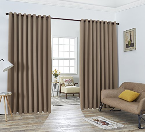 """Nicole - 2 Wall-to-Wall Blackout Grommet Curtains Panels with Tiebacks - Total Size 216 Inch Wide (108 Each Panel) - 120 Inch Long - Solid Thermal Insulated (108"""" x 120"""", Taupe)"""