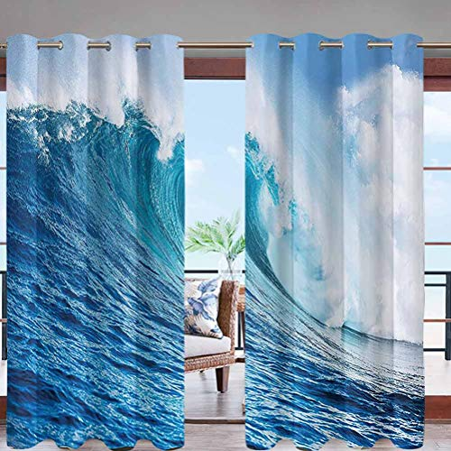 Elegant Grommet Top Waterproof Curtains Large Powerful Pacific Surf Sea W84 x L96 Extra Long for Patio Garden Porch Lawn Corridor Door