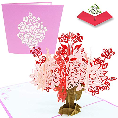 PopLife Flower Basket Pop Up Mother's Day Card - 3D Anniversary Gift, Pop Up Thank you Card, Cute Happy Birthday, Valentines - for Mom, for Daughter, for Wife, for Grandma, for Stepmom