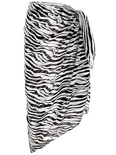 Block Garden Women's Swimsuit Cover up Sarong Chiffon Beachwear Bikini Sarongs Pareo Wrap (03 Zebra)