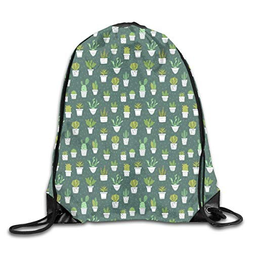 show best Cactus Drawstring Gym Bag for Women and Men Polyester Gym Sack String Backpack for Sport Workout, School, Travel, Books 14.17 X 16.9 inch