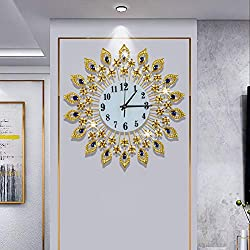 Luxury 15inch Gold Large Wall Clock 3D Non-Ticking Silent Quartz Clocks with Arabic Numerals,Diamond Round Home Decoration Clocks