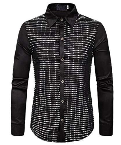 Camisa de manga larga con lentejuelas, para disco, fiesta, baile, disfraz, para hombre Plateado plata L