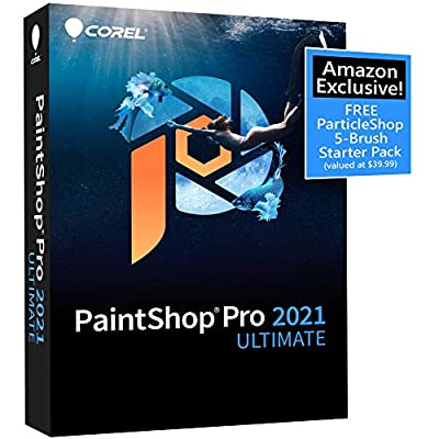 Corel PaintShop Pro 2021 Ultimate | Photo Editing & Graphic Design Software PLUS Creative Collection | Amazon Exclusive 5-Brush Starter Pack [PC Disc]