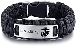 LiFashion LF Mens Womens Stainless Steel Armed Forces US Marine Corps,Outdoor Rescue Rope Hiking Camping Hunting Paracord ...