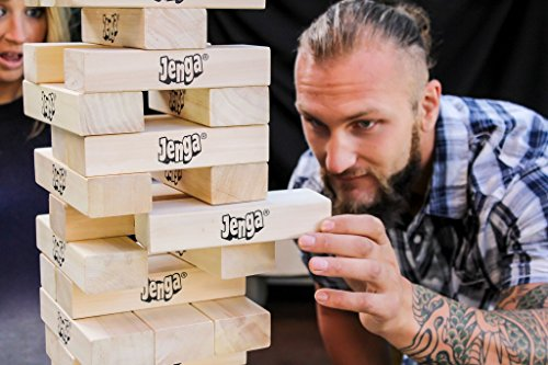 Jenga Giant JS7 (Stacks to Over 5 feet) Precision-Crafted, Premium Hardwood Game with Heavy-Duty Carry Bag (Authentic Jenga Brand Game)