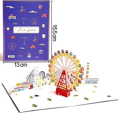 YAOJII Verjaardag Ansichtkaart Wenskaart Kaarten 3D Handgemaakte Pop Up Card Uitnodiging Kaarten met Envelop