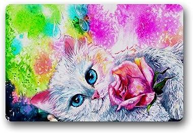 Beautiful Cat Painting Art Customized Doormat Entrance Mat Floor Mat Rug Indoor/Front Door/Bathroom/Kitchen and Living Room/B