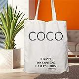 Coco Chanel, I Don't Do Fashion! I Am Fashion Bolsa de lona, bolsa de la compra, bolsa de lona, bolsa de moda, lavable y reutilizable, gran elección para regalo para ella, Coco