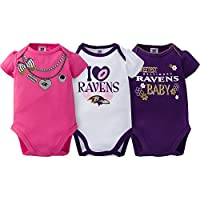 NFL Baltimore Ravens Girls Short Sleeve Bodysuit (3 Pack), 0-3 Months, Pink