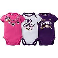 NFL Baltimore Ravens Girls Short Sleeve Bodysuit (3 Pack), 6-12 Months, Pink