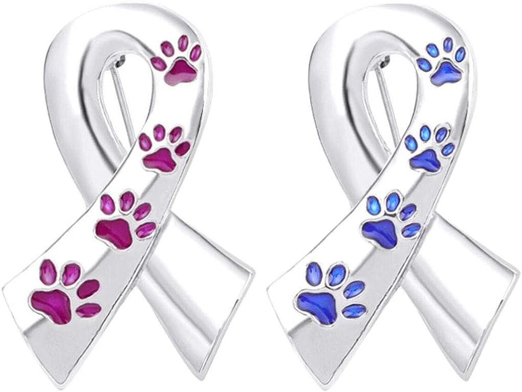 Charmart Dog Cat Claw Ribbon Lapel Pin 2 Piece Set Footprints Ribbon Enamel Brooch Pins Badges Clothes Accessories Gifts