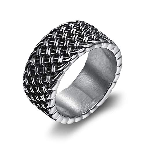 HHW Vintage Love Interlaced Ring Unique Creative Stainless Steel Ring Men's Punk Party Gift,11