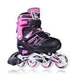 Adjustable Inline Skates for Girls and Boys with Light up Wheels Beginner Skates Safe and Durable Inline Roller Skates for Kids and Adults, Men and Women Pink Size 8