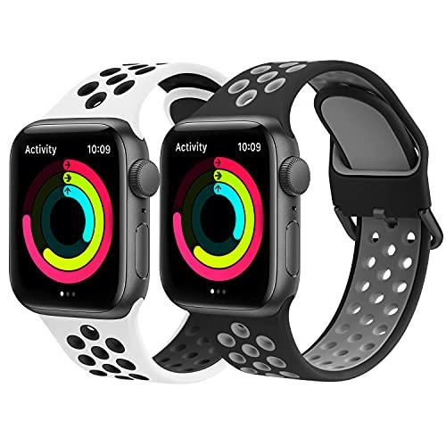 Amzpas Cinturino per Apple Watch 44mm 40mm 38mm 42mm, Cinturini Sportiva in Silicone Morbido e...