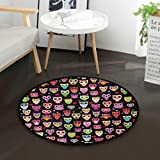 Mnsruu niedlicher bunter Eulen-Teppich, rund, rutschfest, bequem, rund, für Wohnzimmer, Schlafzimmer, Durchmesser: 92 cm