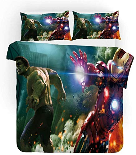 QWAS Avengers Marvel - Juego de ropa de cama, 1 funda nórdica y 2 fundas de almohada, impresión digital 3D, exquisito diseño (V01,135 x 200 cm + 80 x 80 cm x 2)