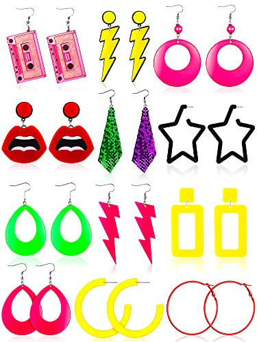 12 Pairs of Retro 1980s Earrings for Group Dress-Up