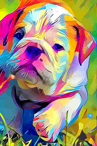 Lienzo decorativo para pared, diseño de bulldog de animales de colores, 30,4 x 40,6 cm, lienzo de arte, sin marco o enmarcable