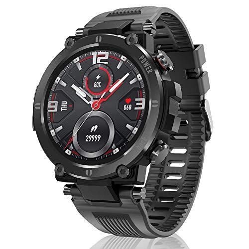 Hopofit Smartwatch, 1.3 Zoll Touchscreen Fitness Armband mit Pulsuhr Blutdruckmessung Schrittzähler Kalorienzähler Sportuhr Wasserdicht IP68 Fitness Tracker fur Damen Herren Android iOS (Schwarz)