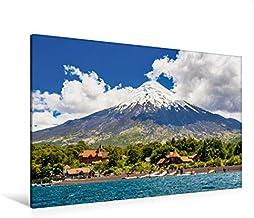 Premium lienzo textil 120 cm x 80 cm horizontal, el volcán Osorno detrás del lago de los Santos, cuadro en bastidor. Parque nacional rosa, Chile (CALVENDO Orte);CALVENDO Orte