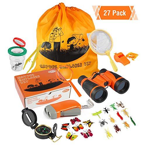 ThinkMax Kit Explorador nios, 27 Piezas Kit de Binoculares con con Linterna, brjula, Lupa, cazamariposas y Mochila para Camping y Senderismo