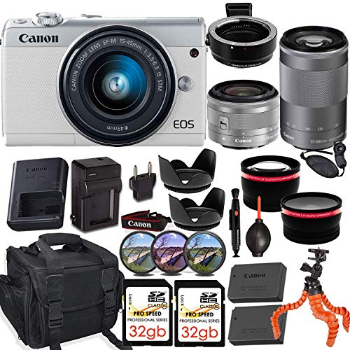 Price comparison product image Canon EOS M100 Mirrorless Camera (White) w / Canon 15-45mm f / 3.5-6.3 is STM & EF-M 55-200mm f / 4.5-6.3 is STM Lens + M-Adapter & Exclusive Video-Accessory Bundle