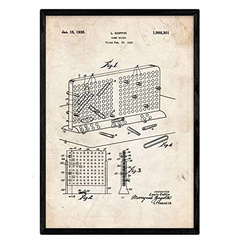 Nacnic Poster con Patente de Tres en Raya en Tablero. Lámina con diseño de Patente Antigua en tamaño A3 y con Fondo Vintage