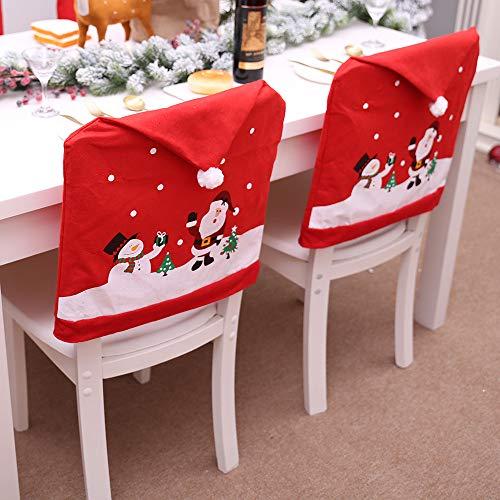 Gudotra 6 Stück Stuhlhussen Weihnachten Stuhlhussen Weihnachtsmann Schneemann für Tischdekoration Weihnachten