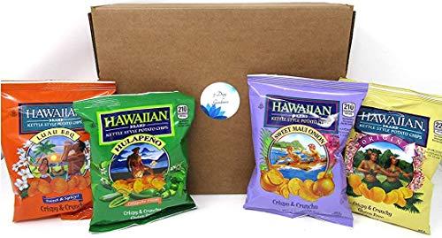 Hawaiian Brand Assorted Kettle Style Potato Chips Bundle: Sweet Maui Onion, Luau BBQ, Hulapeño, & Original